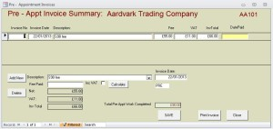 Pre-Appt Invoice Form
